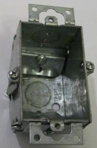 "2 x 3 x 2 1/4"" beveled galvanized box with grips"