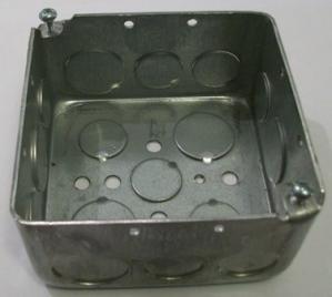 "4 x 4 x 2 1/8"" galvanized box, plain"