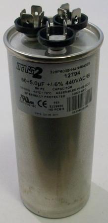 60/5 MFD 440V dual capacitor, round