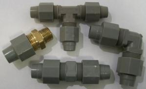 couplings, adapters, ells, tees, stop valves and nut assemblies